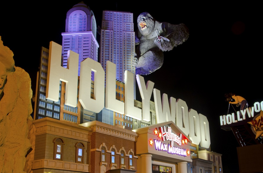 The Hollywood Wax Museum in Branson, Missouri grabs tourists' attention with a skyline and a giant King Kong gorilla on its roof!