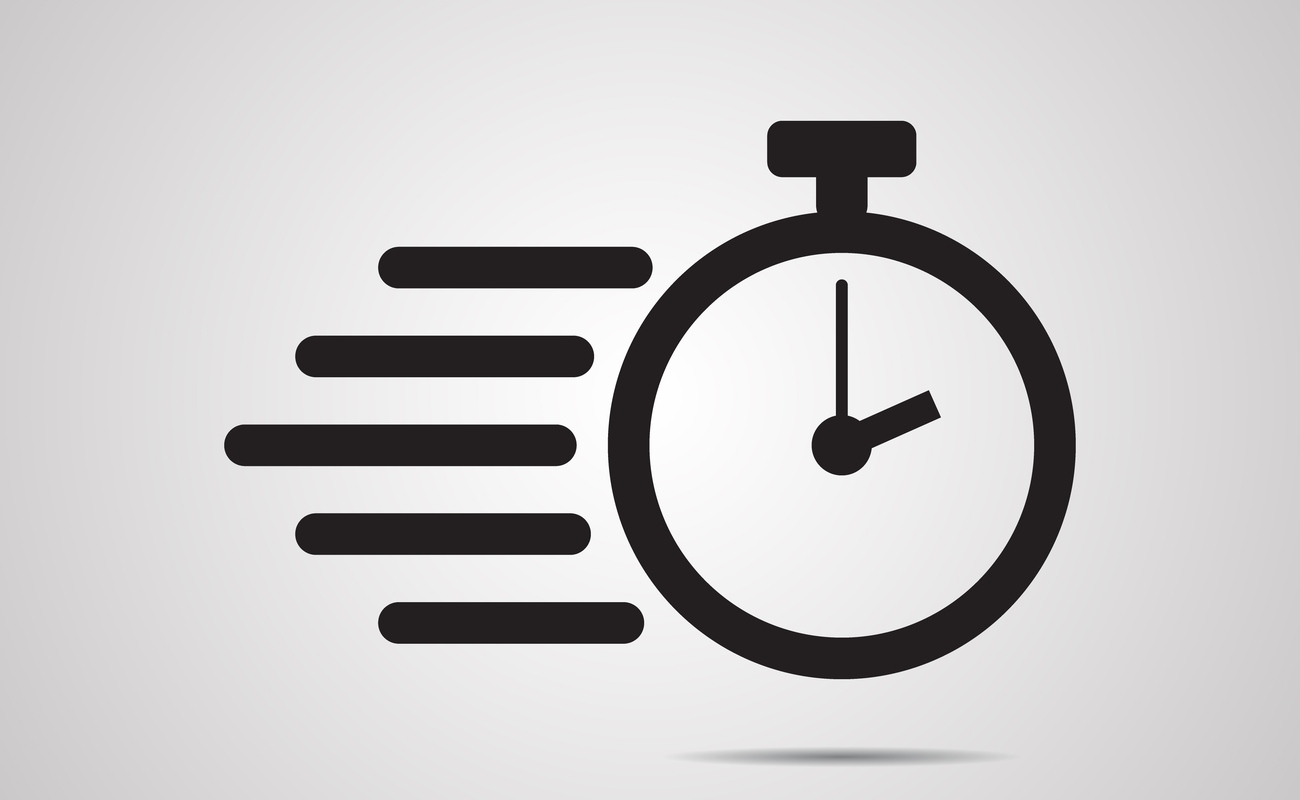 Stopwatch vector drawing with lines behind it to show it is going fast