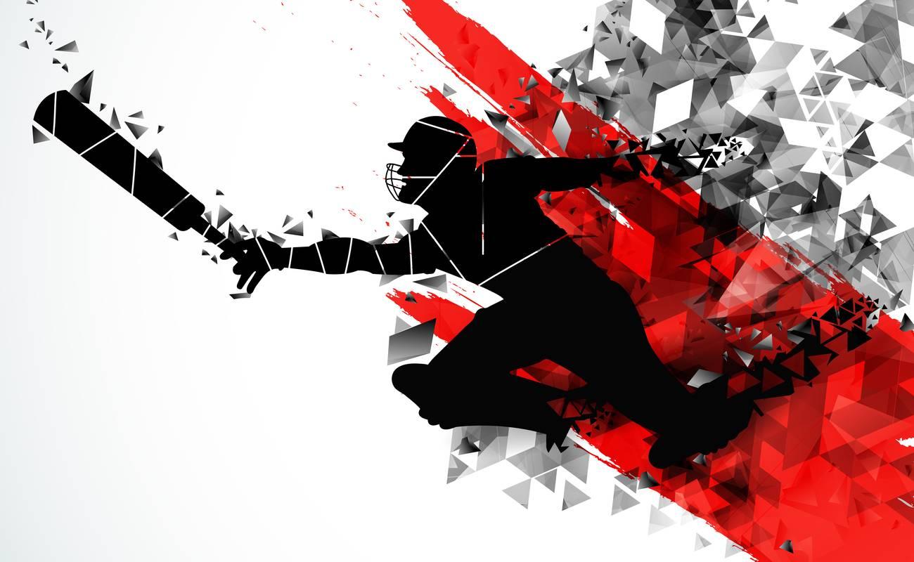 Siluet pemain kriket yang menyelam dengan latar belakang abstrak merah