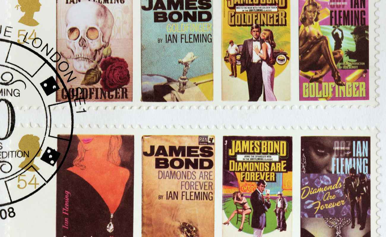 A Stamp that shows images of covers of James Bond Goldfinger and Diamonds are Forever novels by Ian Flemin