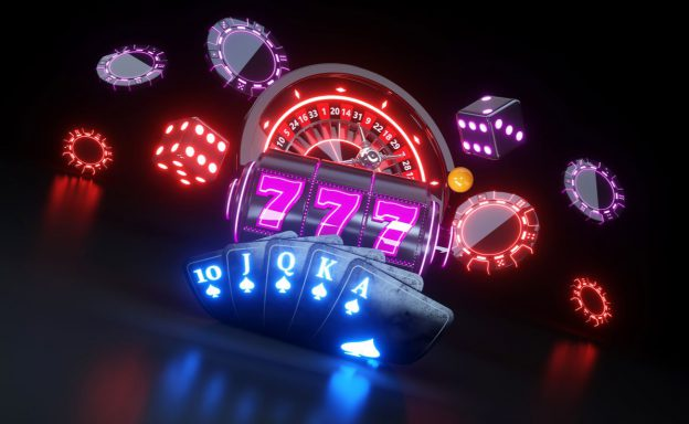 Casino items with neon lights on them