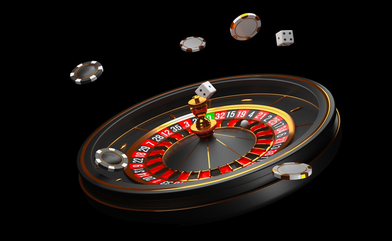 Roulette wheel, poker chips and dice 3D render