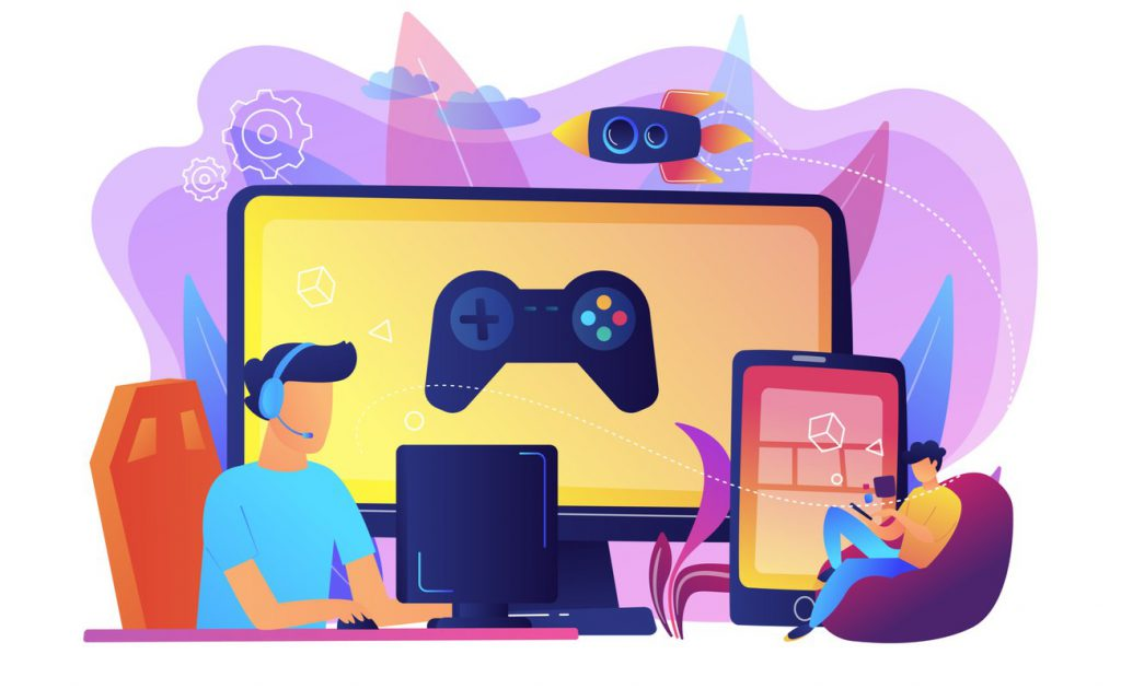 Illustration of people playing games on a PC and mobile phone