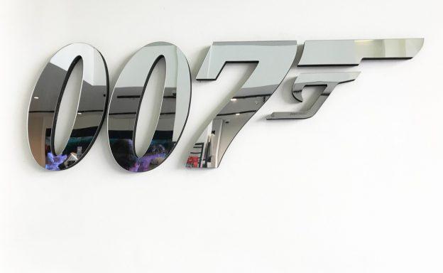 007 mirror on display on a wall