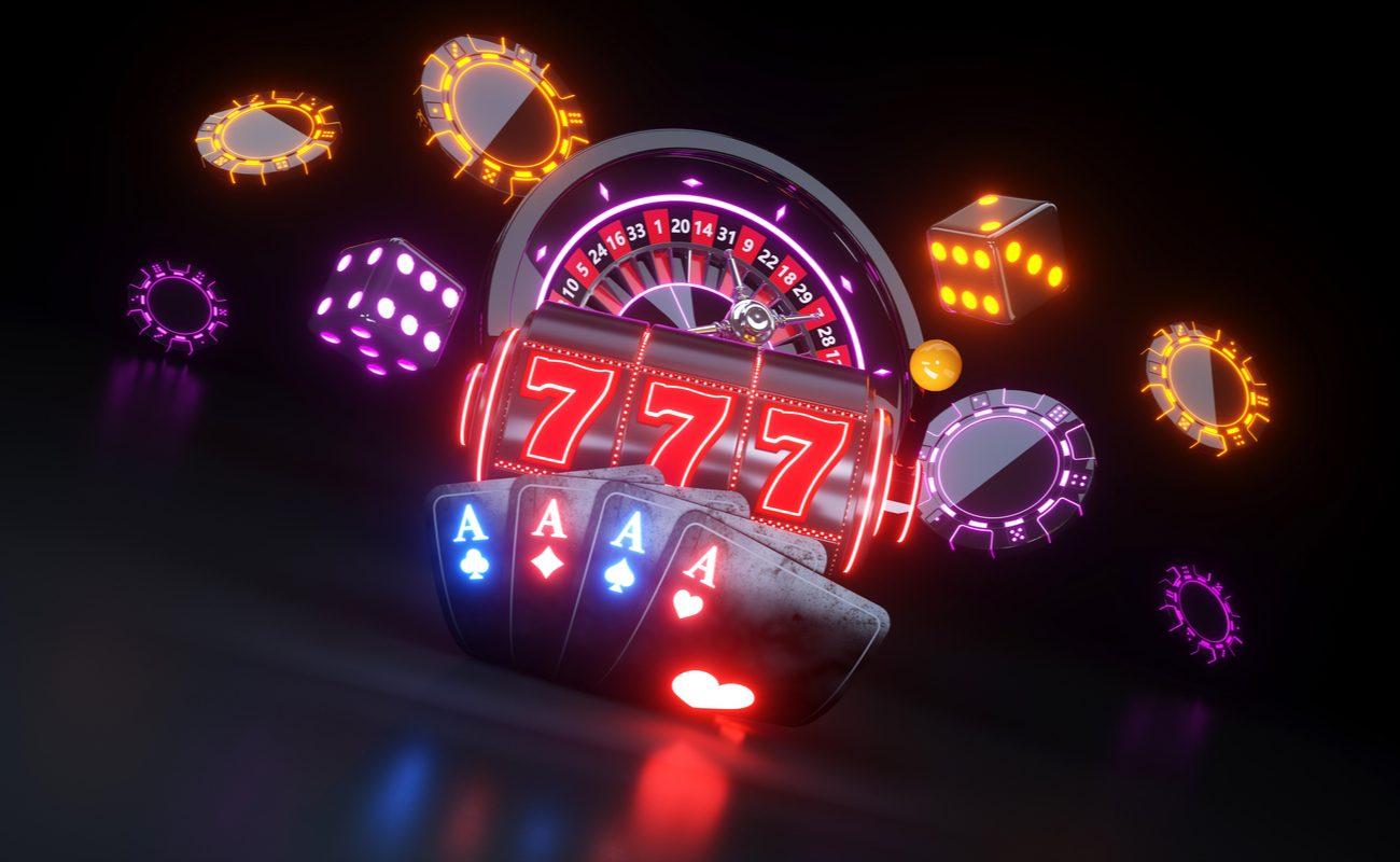 Neon Casino Items bouncing around a dark location