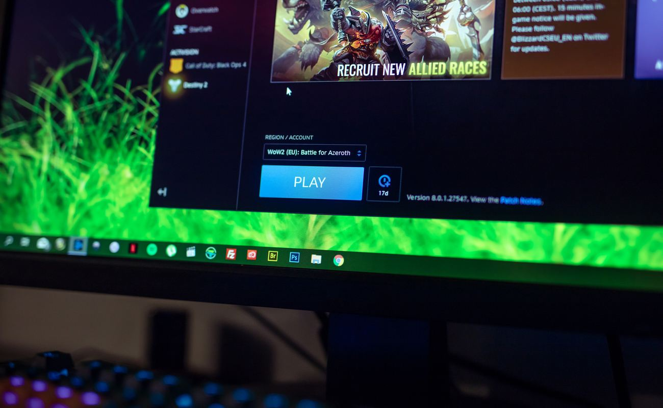 Close up of World of Warcraft play button on battle.net application