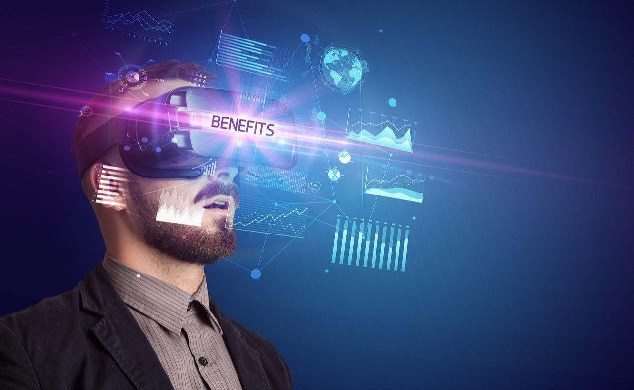 Man using virtual reality to look at benefits
