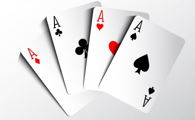Poker cards showing four aces