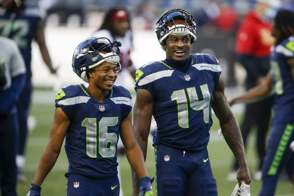 Seattle Seahawks Wide Receivers Tyler Lockett dan DK Metcalf