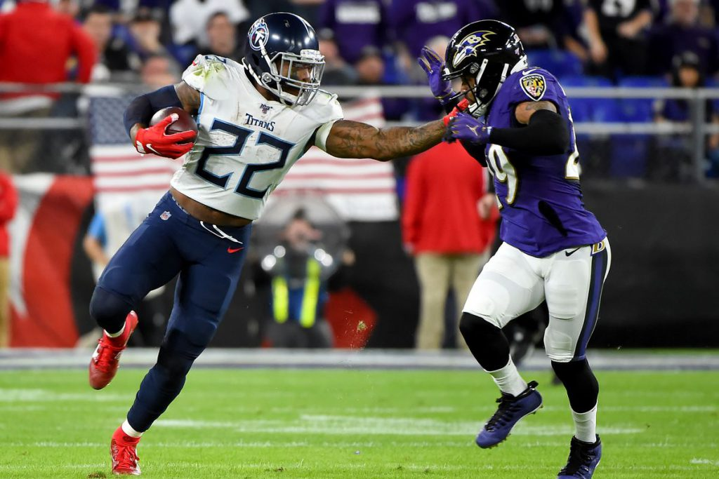Derrick Henry of the Tennessee Titans in action against Baltimore Ravens in the 2019 NFL Playoffs