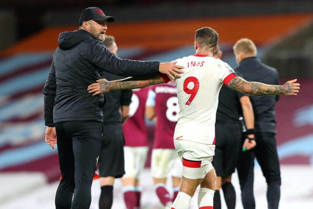 Southampton manager Ralph Hasenhuttl celebrating with star striker Danny Ings