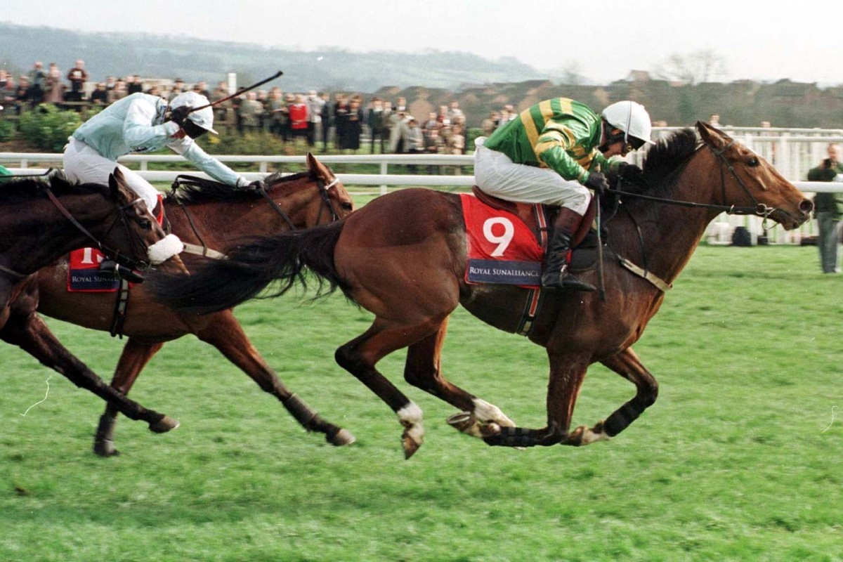 The legendary horse Istabraq storms to victory in the Champion Hurdle at Cheltenham Festival