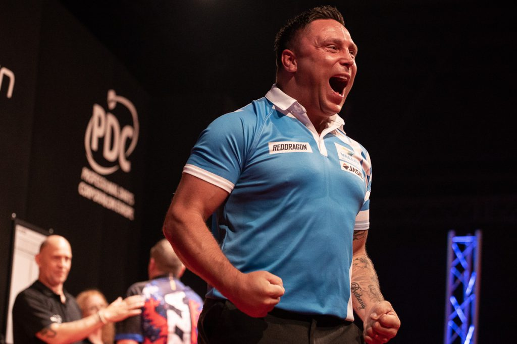 Gerwyn Price celebrates a darts victory